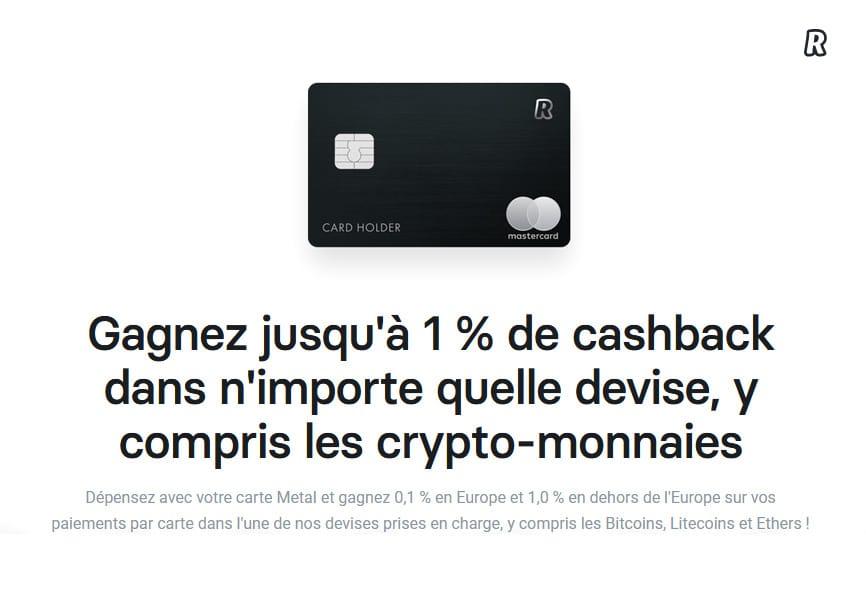 carte bancaire revolut Metal cashback