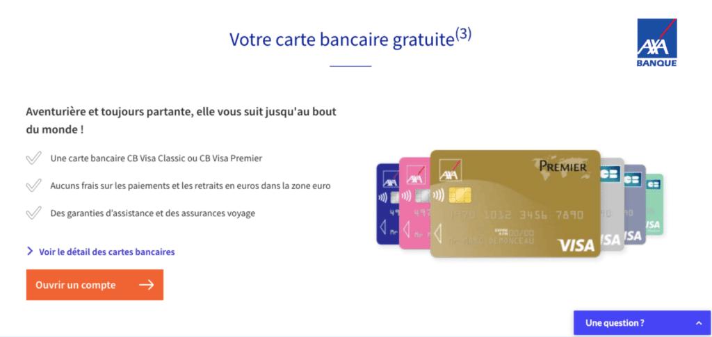 Carte Visa Premier gratuite Axa Banque