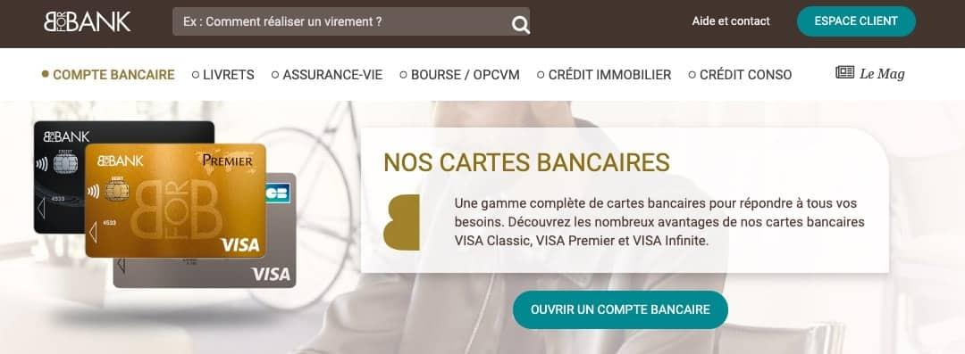 Carte bancaire Visa Infinite BforBank planfonds modulables