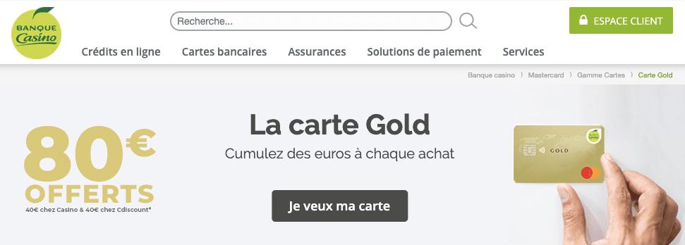 carte Gold gratuite Banque Casino