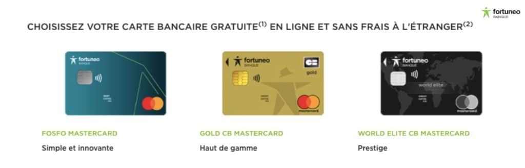Banque en ligne Gold Mastercard gratuite Fortuneo
