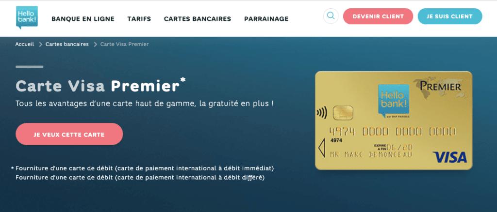 Visa Premier gratuite Hello Bank