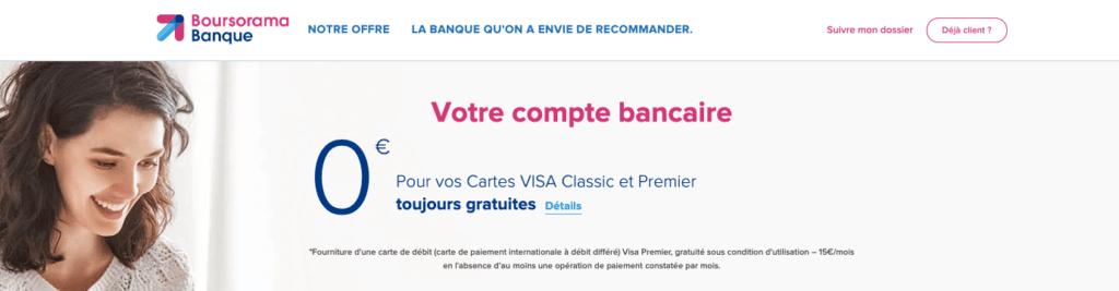 Carte Visa Premier gratuite à vie Boursorama Banque