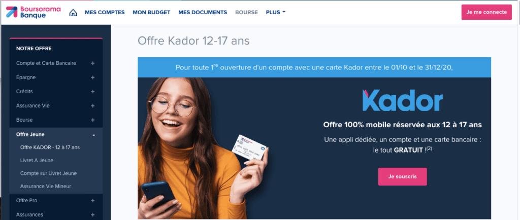carte bancaire mineur Kador