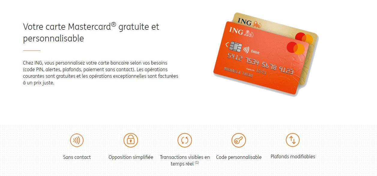 Carte bancaire Mastercard Gold ING gratuite