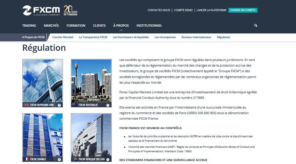regulation avis fxcm