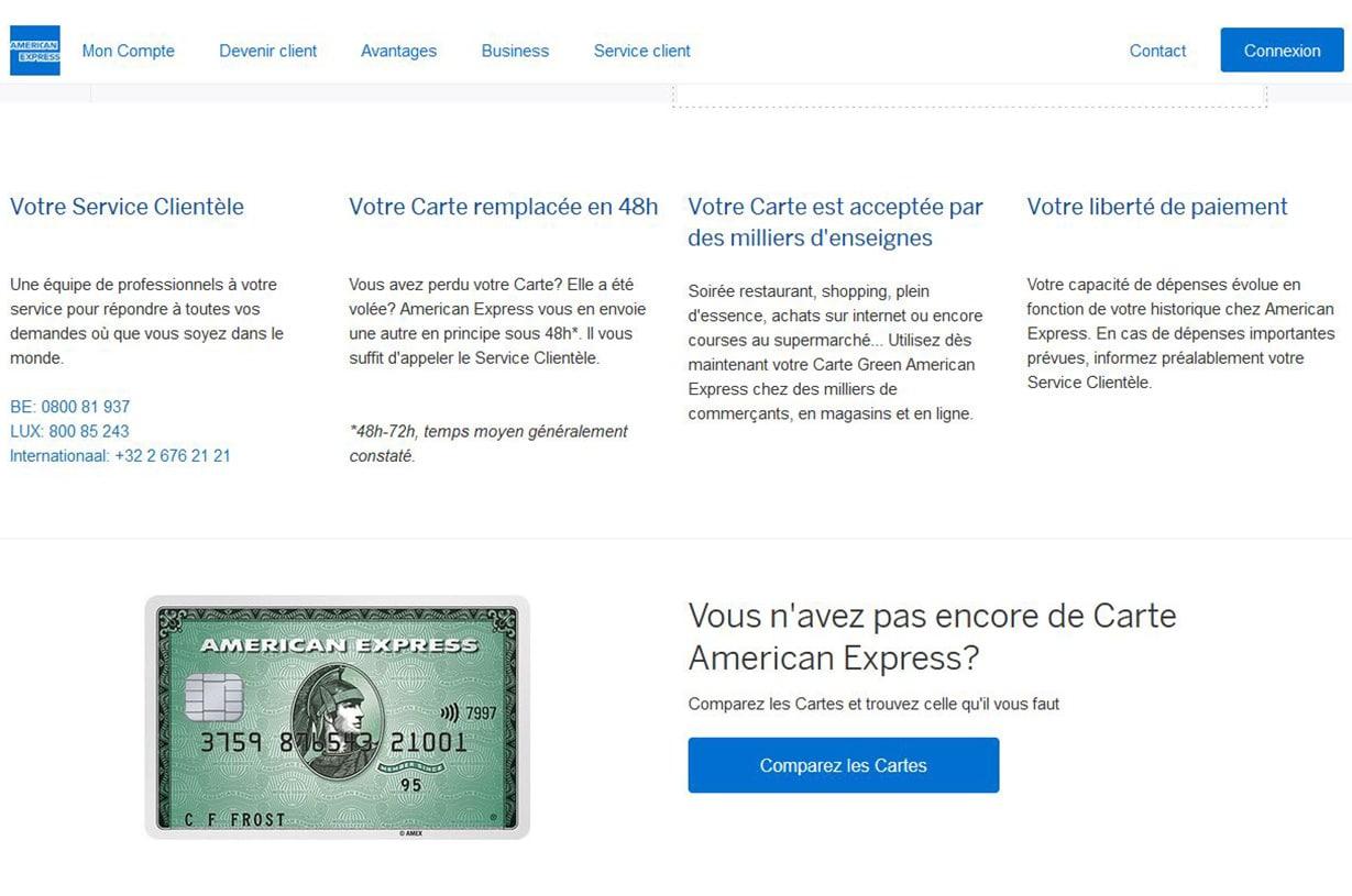 Green American Express avis : les services