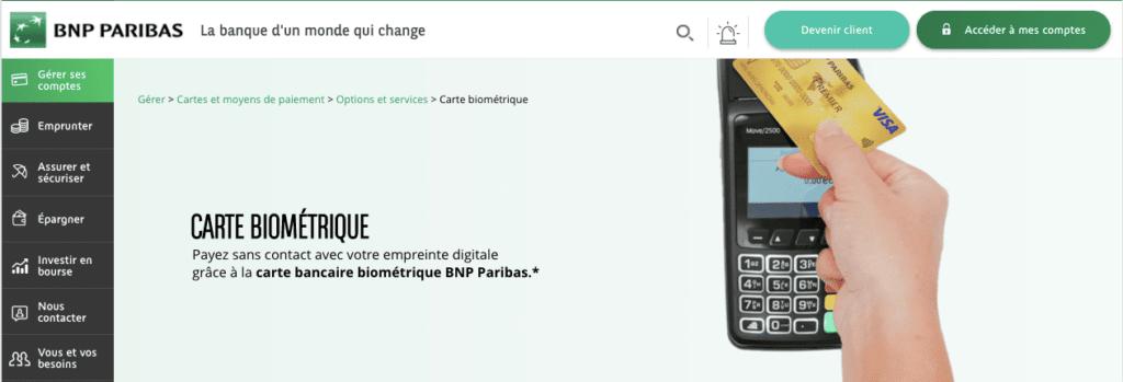 carte bancaire biométrique bnp
