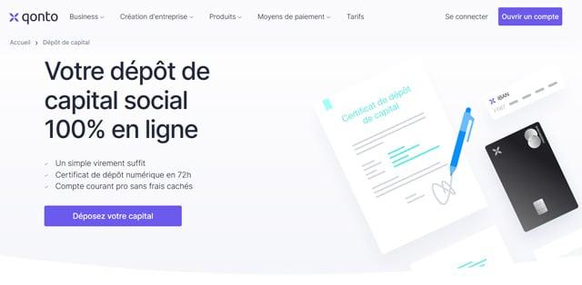 Avis Qonto dépot capital social en ligne