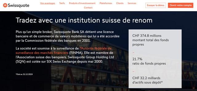 SwissQuote avis fiable