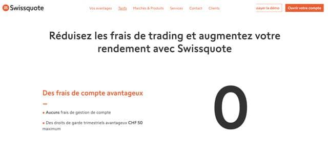 SwissQuote avis tarifs