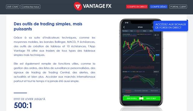 Vantage FX avis appli trading