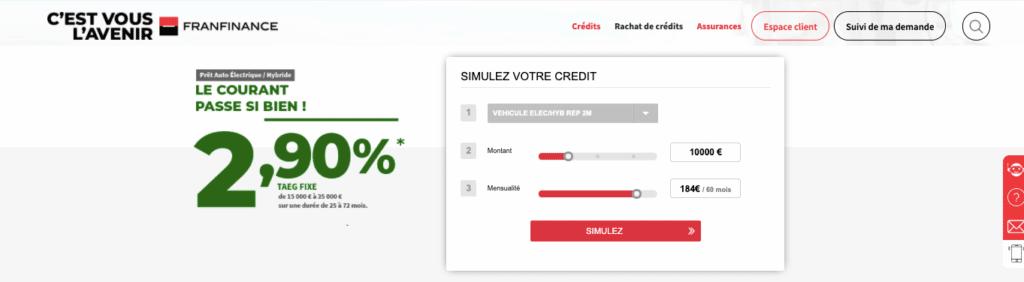 Avis Franfinance : credit auto electrique