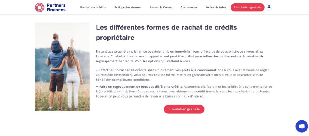 Avis Partners Finances rachat crédit propriétaire