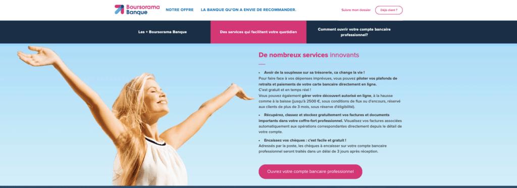 Avis Boursorama Pro : les services