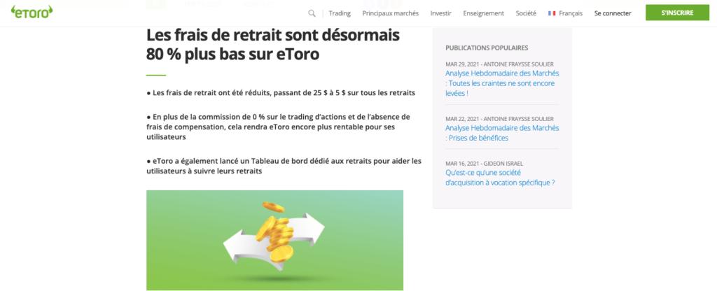 Avis retrait eToro : frais de retrait