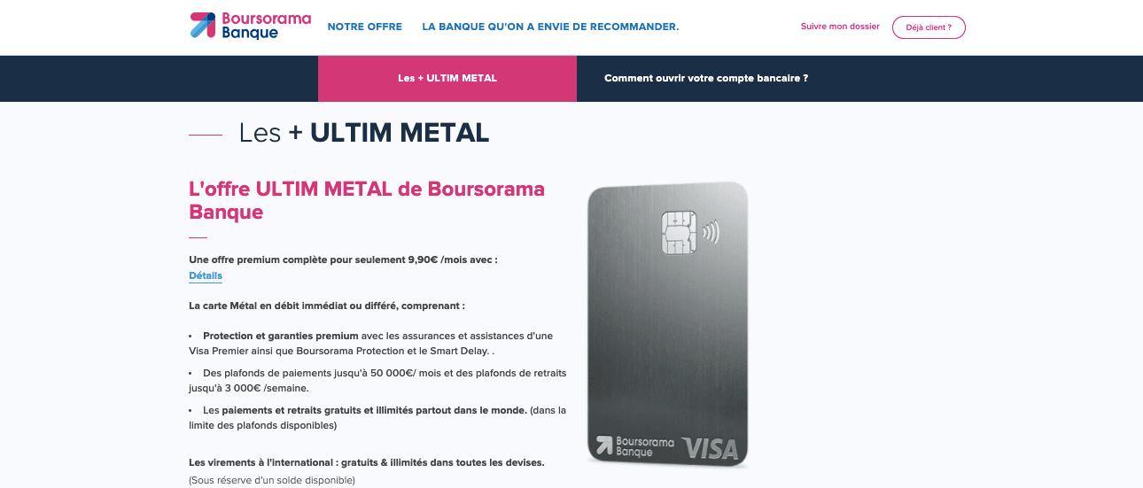 Nouvelle banque en ligne Visa Ultim Metal Boursorama
