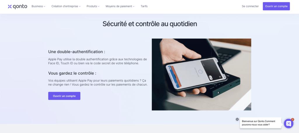 Apple Pay Qonto sécurité