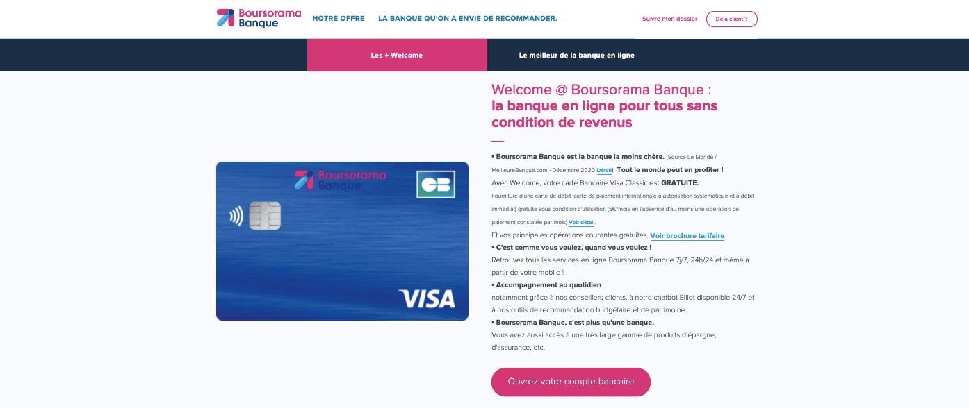 Avis carte Welcome Boursorama Banque conditions d'obtention