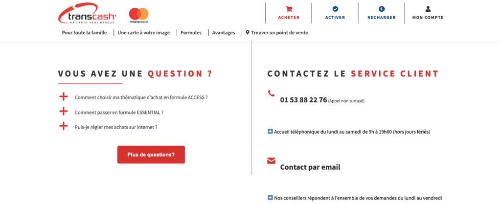 Avis Transcash : service client