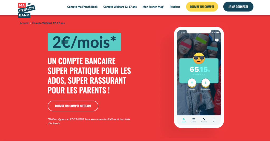 Carte bancaire pour mineur Ma French Bank