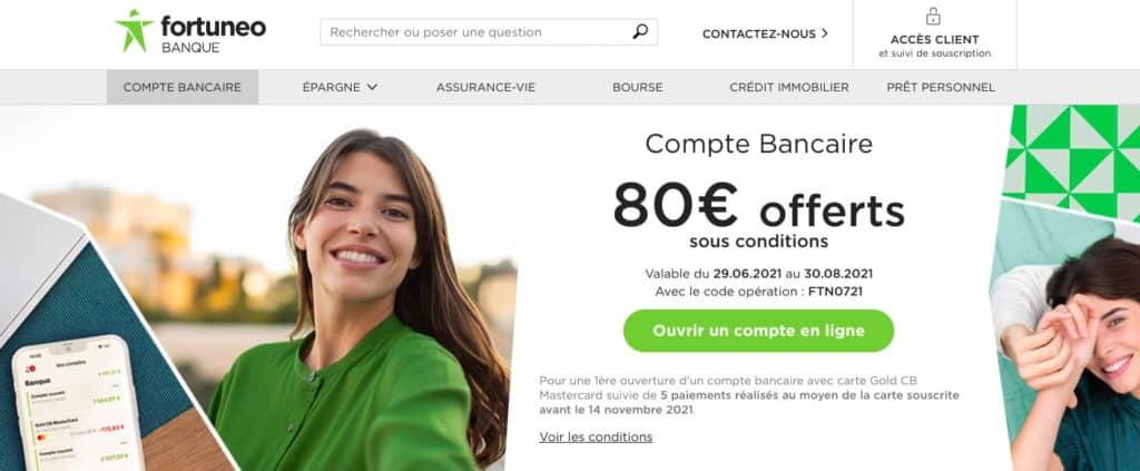 Prime banque en ligne Fortuneo